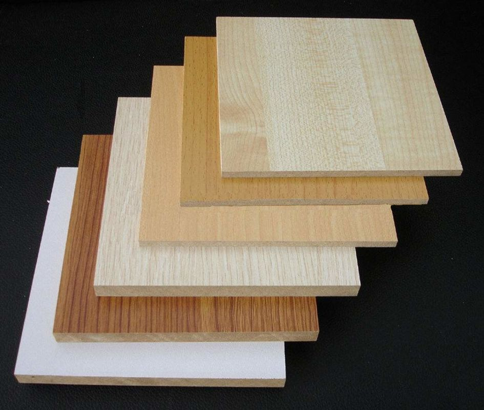 Waterproof Hardwood Decorative MDF Board / Construction Wood Veneer MDF Panels