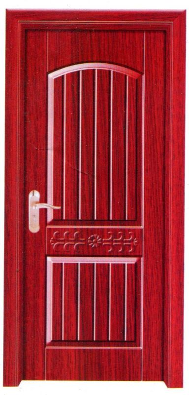 Dark Red Wooden Flush Door Veneer Skins , Apartment Using PVC Plastic Door Skins
