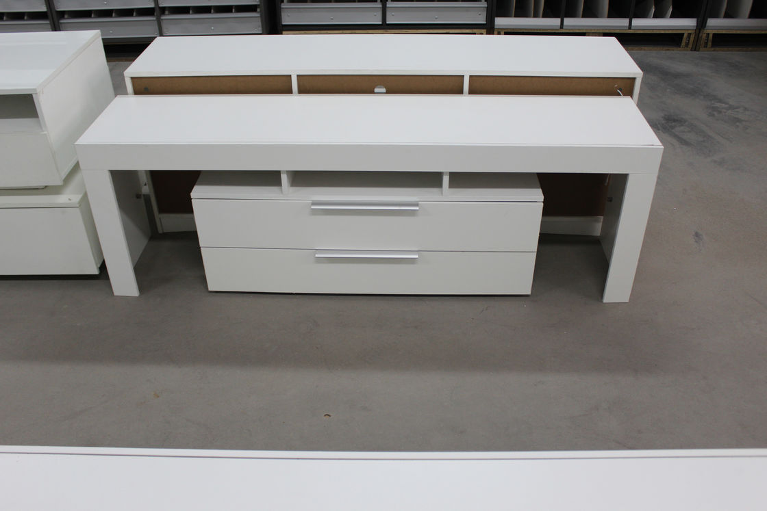 Small Wood TV Stand With Drawers , Contemporary Style White Melamine TV Unit