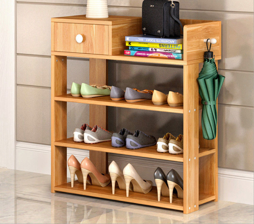 Simple style Wood grain Particle Board Shoe cabinet with many racks for choose
